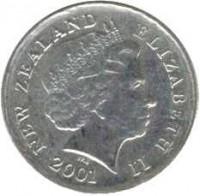 obverse of 5 Cents - Elizabeth II - 4'th Portrait (1999 - 2006) coin with KM# 116 from New Zealand. Inscription: NEW ZELAND ELIZABETH II 2003