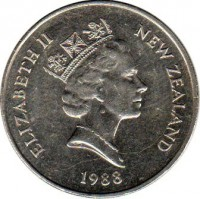 obverse of 20 Cents - Elizabeth II - 3'rd Portrait (1986 - 1989) coin with KM# 62 from New Zealand. Inscription: ELIZABETH II NEW ZEALAND 1988