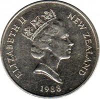 obverse of 20 Cents - Elizabeth II - 3'rd Portrait (1986 - 1989) coin with KM# 62 from New Zealand. Inscription: ELIZABETH II NEW ZEALAND 1988