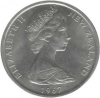 obverse of 50 Cents - Elizabeth II - 2'nd Portrait (1967 - 1985) coin with KM# 37 from New Zealand. Inscription: ELIZABETH II NEW ZEALAND 1973