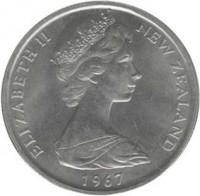 obverse of 50 Cents - Elizabeth II - 2'nd Portrait (1967 - 1985) coin with KM# 37 from New Zealand. Inscription: ELIZABETH II NEW ZEALAND 1973