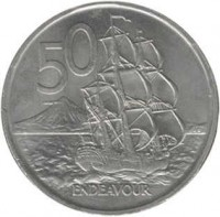 reverse of 50 Cents - Elizabeth II - 2'nd Portrait (1967 - 1985) coin with KM# 37 from New Zealand. Inscription: 50 ENDEAVOUR