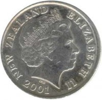 obverse of 10 Cents - Elizabeth II - 4'th Portrait (1999 - 2006) coin with KM# 117 from New Zealand. Inscription: NEW ZEALAND ELIZABETH II 2003