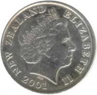obverse of 10 Cents - Elizabeth II - 4'th Portrait (1999 - 2006) coin with KM# 117 from New Zealand. Inscription: NEW ZEALAND ELIZABETH II 2003