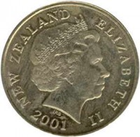obverse of 2 Dollars - Elizabeth II - 4'th Portrait (1999 - 2014) coin with KM# 121 from New Zealand. Inscription: NEW ZEALAND ELIZABETH II 2001