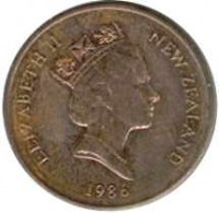 obverse of 1 Cent - Elizabeth II - 3'rd Portrait (1986 - 1988) coin with KM# 58 from New Zealand. Inscription: ELIZABETH II NEW ZEALAND 1987