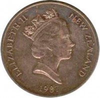 obverse of 2 Cents - Elizabeth II - 3'rd Portrait (1986 - 1988) coin with KM# 59 from New Zealand. Inscription: ELIZABETH II NEW ZEALAND 1987