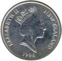 obverse of 5 Cents - Elizabeth II - 3'rd Portrait (1986 - 1998) coin with KM# 60 from New Zealand. Inscription: ELIZABETH II NEW ZEALAND 1987