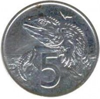 reverse of 5 Cents - Elizabeth II - 3'rd Portrait (1986 - 1998) coin with KM# 60 from New Zealand. Inscription: 5