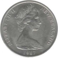 obverse of 10 Cents / 1 Shilling - Elizabeth II - 2'nd Portrait (1967 - 1969) coin with KM# 35 from New Zealand. Inscription: ELIZABETH II NEW ZEALAND 1967