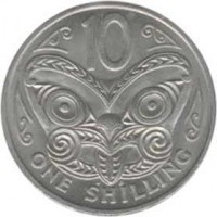 reverse of 10 Cents / 1 Shilling - Elizabeth II - 2'nd Portrait (1967 - 1969) coin with KM# 35 from New Zealand. Inscription: 10 ONE SHILLING