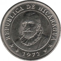 obverse of 10 Centavos (1972) coin with KM# 17.2a from Nicaragua. Inscription: REPUBLICA DE NICARAGUA **1972**