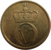 obverse of 2 Øre - Olav V - Small letters (1958) coin with KM# 404 from Norway. Inscription: O V