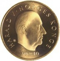 obverse of 10 Kroner - Harald V - 200th Anniversary of the Birth of Ole Bull (2010) coin with KM# 483 from Norway. Inscription: HARALD V NORGES KONGE 2010