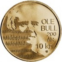 reverse of 10 Kroner - Harald V - 200th Anniversary of the Birth of Ole Bull (2010) coin with KM# 483 from Norway. Inscription: OLE BULL 200 AR 10 kr