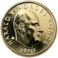 obverse of 10 Kroner - Harald V - 100th anniversary of universal suffrage (2013) coin with KM# 488 from Norway. Inscription: HARALD V . NORGES KONGE 2013