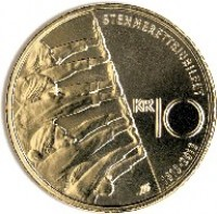 reverse of 10 Kroner - Harald V - 100th anniversary of universal suffrage (2013) coin with KM# 488 from Norway. Inscription: STEMMERETTSJUBILEET KR 10 1913-2013