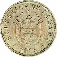 obverse of 2 1/2 Centésimos (1907 - 1918) coin with KM# 7 from Panama. Inscription: REPUBLICA DE PANAMA