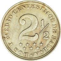 reverse of 2 1/2 Centésimos (1907 - 1918) coin with KM# 7 from Panama. Inscription: Dos Y Medios Centesimos de Balboa