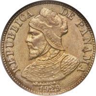 obverse of 2 1/2 Centésimos (1929) coin with KM# 8 from Panama. Inscription: REPUBLICA DE PANAMA 1929