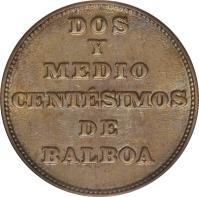 reverse of 2 1/2 Centésimos (1929) coin with KM# 8 from Panama. Inscription: DOS Y MEDIO CENTÉSIMOS DE BALBOA
