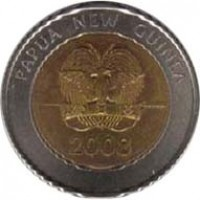 obverse of 2 Kina - Elizabeth II - Bank of Papua New Guinea (2008) coin with KM# 51 from Papua New Guinea. Inscription: PAPUA NEW GUINEA