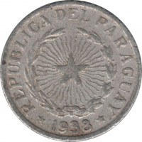 obverse of 50 Centavos (1938) coin with KM# 15 from Paraguay. Inscription: REPUBLICA DEL PARAGUAY * 1938 *