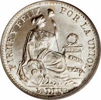 reverse of 1/2 Dinero - South Peru (1890 - 1917) coin with KM# 206 from Peru. Inscription: FIRME Y FELIZ POR LA UNION 1/2 DINo