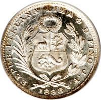 obverse of 1/5 Sol (1888 - 1917) coin with KM# 205 from Peru. Inscription: REPUB:PERUANA LIMA 9 D:FINO F. 1896