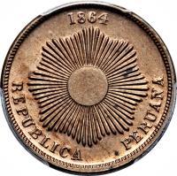 obverse of 2 Centavos - South Peru (1863 - 1895) coin with KM# 188 from Peru. Inscription: 1864 REPUBLICA PERUANA