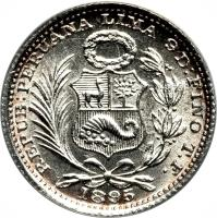 obverse of 1 Dinero - South Peru (1888 - 1916) coin with KM# 204 from Peru.