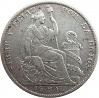 obverse of 1/2 Sol (1922 - 1935) coin with KM# 216 from Peru. Inscription: REPUBLICA PERUANA-LIMA 1928