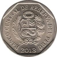 obverse of 1 Nuevo Sol - Wealth and pride of Peru: Temple of the Crossed Hands of Kotosh (2013) coin with KM# 372 from Peru. Inscription: BANCO CENTRAL DE RESERVA DEL PERU 2013