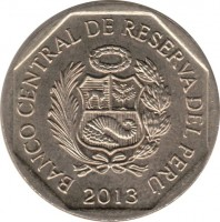 obverse of 1 Nuevo Sol - Natural resources of Peru: Anchovy (2013) coin with KM# 374 from Peru. Inscription: BANCO CENTRAL DE RESERVA DEL PERU 2013
