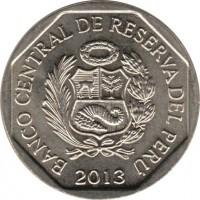 obverse of 1 Nuevo Sol - Natural resources of Peru: Quinoa (2013) coin with KM# 376 from Peru. Inscription: BANCO CENTRAL DE RESERVA DEL PERU 2013