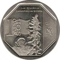 reverse of 1 Nuevo Sol - Natural resources of Peru: Quinoa (2013) coin with KM# 376 from Peru. Inscription: LA QUINUA CHENOPODIUM QUINOA 1 NUEVO SOL