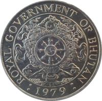 obverse of 1 Ngultrum - Jigme Singye Wangchuck - Non magnetic (1979) coin with KM# 49 from Bhutan. Inscription: ROYAL GOVERNMENT OF BHUTAN : 1979 :