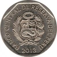 obverse of 1 Nuevo Sol - Natural resources of Peru: Cacao (2013) coin with KM# 375 from Peru. Inscription: BANCO CENTRAL DE RESERVA DEL PERU 2013