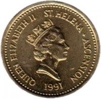 obverse of 1 Pound - Elizabeth II - 3'rd Portrait (1991 - 2006) coin with KM# 17 from Saint Helena and Ascension. Inscription: QUEEN ELIZABETH II ST.HELENA + ASCENSION RDM 1991