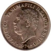 obverse of 50 Sene - Malietoa Tanumafili II (1974 - 2000) coin with KM# 17 from Samoa. Inscription: MALIETOA TANUMAFILI II SAMOA I SISIFO *1974*