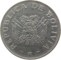 obverse of 1 Boliviano (1987 - 2008) coin with KM# 205 from Bolivia. Inscription: REPUBLICA DE BOLIVIA
