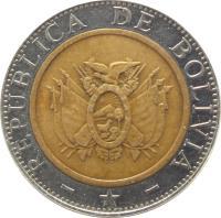 obverse of 5 Bolivianos (2001 - 2004) coin with KM# 212 from Bolivia. Inscription: REPUBLICA DE BOLIVIA