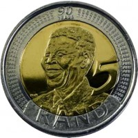 reverse of 5 Rand - Nelson Mandela (2008) coin with KM# 439 from South Africa. Inscription: 90 YEARS NvN 5 RAND