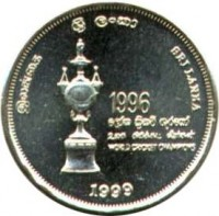 obverse of 5 Rupees - Cricket (1999) coin with KM# 161 from Sri Lanka.