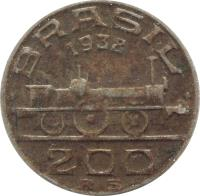 obverse of 200 Réis (1936 - 1938) coin with KM# 537 from Brazil. Inscription: BRASIL 1936 200 RS