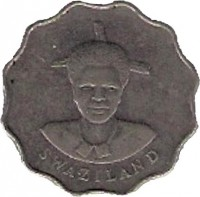 obverse of 5 Cents - Dzeliwe (1986) coin with KM# 40.1 from Swaziland. Inscription: SWAZILAND