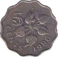 reverse of 5 Cents - Dzeliwe (1986) coin with KM# 40.1 from Swaziland. Inscription: 5 CENTS 1986