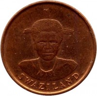 obverse of 1 Cent - Dzeliwe (1986) coin with KM# 39 from Swaziland. Inscription: SWAZILAND