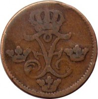 obverse of 1 Öre Silfwermynt - Fredrik I (1730 - 1750) coin with KM# 416 from Sweden. Inscription: FF