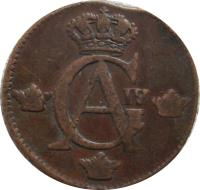 obverse of 1/2 Skilling - Gustaf IV Adolf (1802 - 1809) coin with KM# 565 from Sweden. Inscription: GA